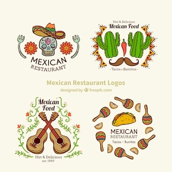 Belle main dessiné logos mexicains