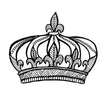 Belle main dessinée noir et blanc couronne