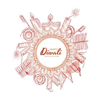 Belle main dessiner croquis de célébration diwali décoratif