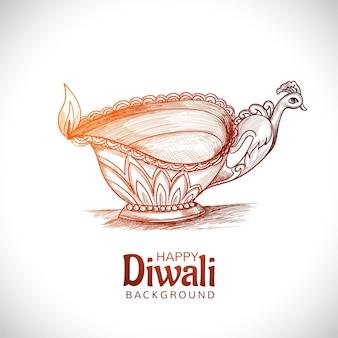 Belle main dessiner croquis créatif fond de festival de lampe à huile diwali