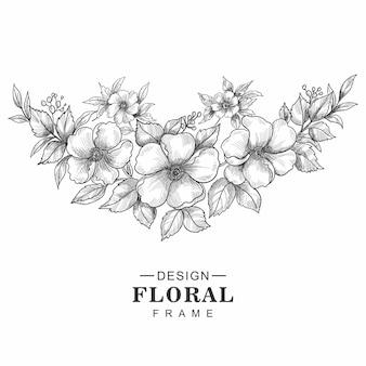 Belle main dessiner croquis design floral de mariage