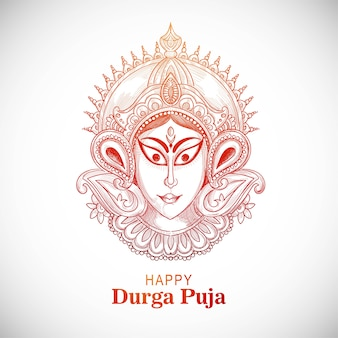 Belle main dessiner un croquis pour fond de célébration de durga puja