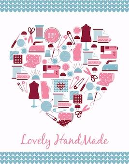 Belle à la main. signe en forme de coeur de pièces de couture, de tricot et de patron.