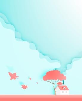 Belle maison en papier de saison d'automne coupe illustration vectorielle de fond style