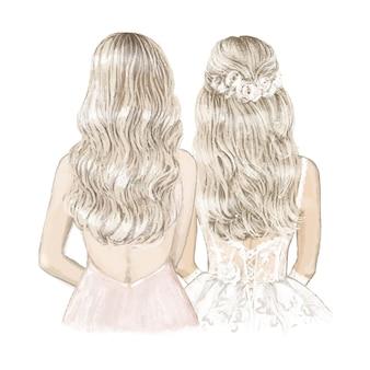 belle mariée blonde et demoiselle d'honneur. illustration dessinée à la main.