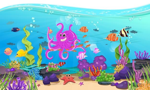 Belle mer avec corail, récif et poisson