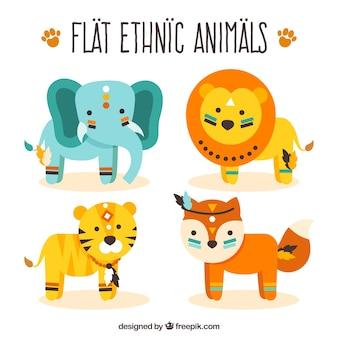 Belle meute d'animaux sauvages dans un style ethnique