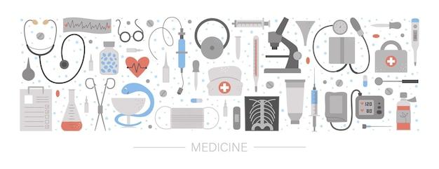 Belle mise en page horizontale avec équipement médical et outils