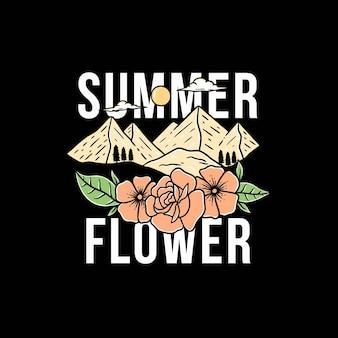 Belle montagne d'été avec modèle vectoriel fleur premium