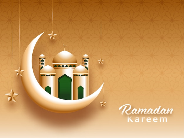 Belle mosquée dorée et croissant de lune et étoiles suspendues sur fond marron pour le mois sacré islamique du ramadan kareem.