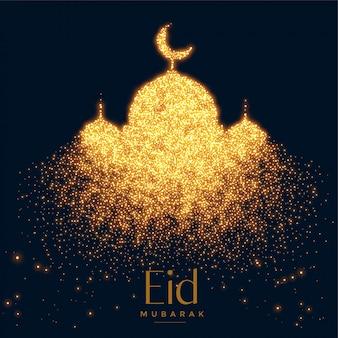 Belle mosquée rougeoyante faite avec un fond d'étincelles