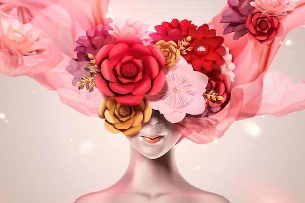 Belle et mystérieuse femme avec couvre-chef de fleurs en papier et mousseline de soie volante dans un style 3d