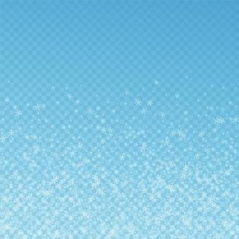 Belle neige rougeoyante fond de noël. flocons de neige volants subtils et étoiles sur fond bleu transparent. modèle de superposition de flocon de neige argenté d'hiver séduisant. illustration vectorielle délicate.