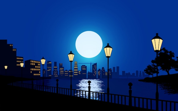 Belle nuit en ville avec rivière et lampadaires