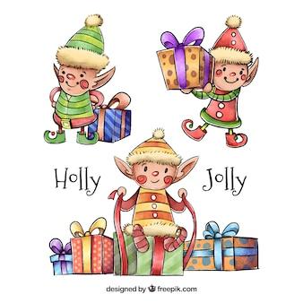 Belle packs d'elfes aquarelles avec des cadeaux