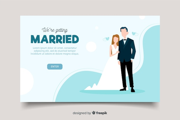 Belle page d'atterrissage de mariage