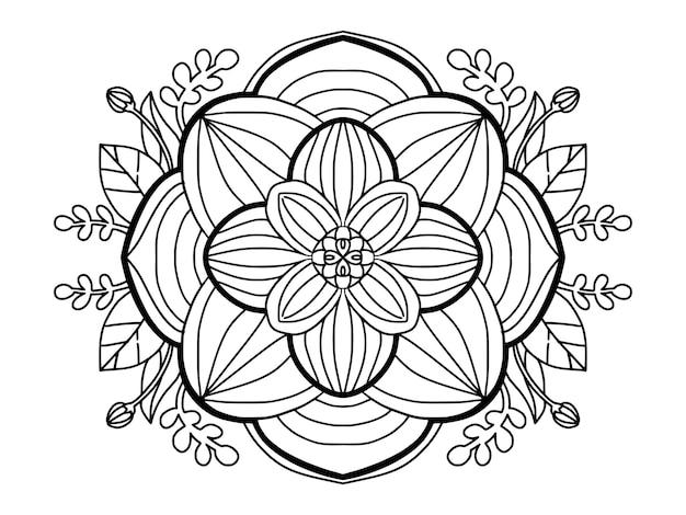 Belle page de coloriage d'art de ligne de fleur de mandala pour les adultes