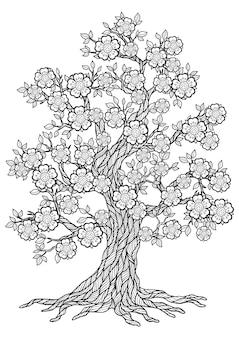 Belle page de coloriage de dessin d'arbre