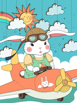 Belle page de coloriage pilote de lapin avec des nuages et du soleil