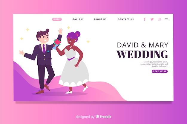 Belle page de mariage illustrée