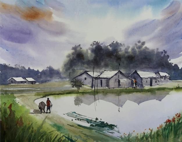 Belle peinture de paysage nature illustration village