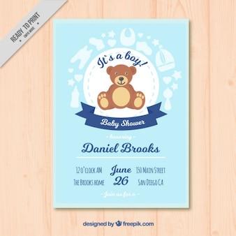 Belle peluche bébé carte de douche