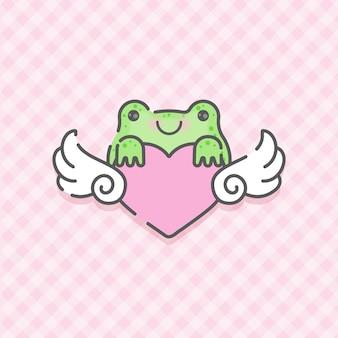 Belle petite grenouille avec vecteur premium coeur ailé