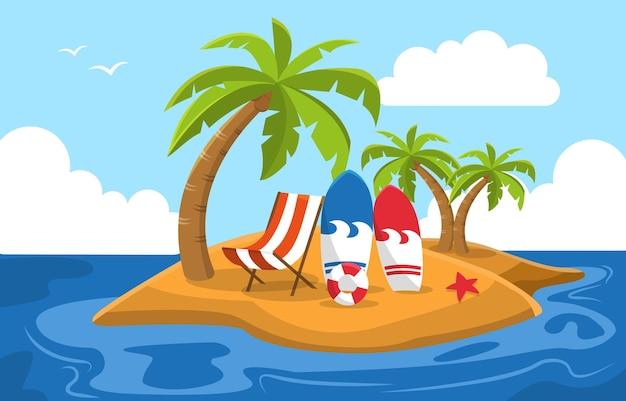 Belle petite île plage été mer nature vacances illustration