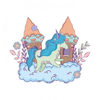Belle petite licorne avec château dans les nuages
