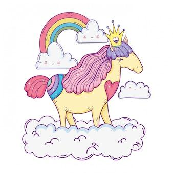 Belle petite licorne dans les nuages et l'arc-en-ciel