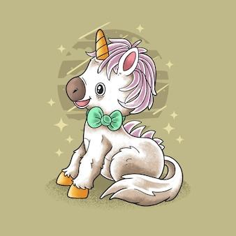 Belle petite licorne illustration vecteur style grunge