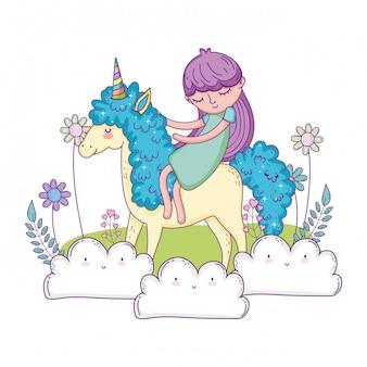 Belle petite licorne avec princesse dans le paysage