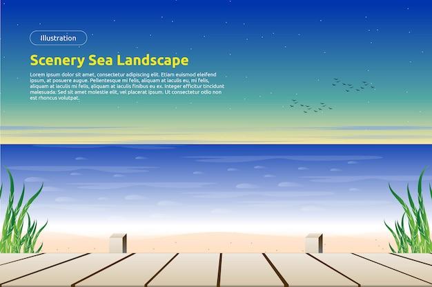 Belle plage avec plancher en bois et fond de ciel coloré