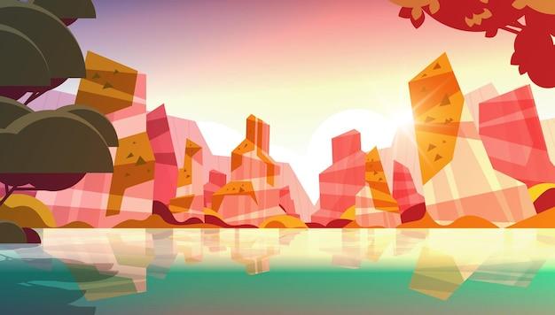 Belle plage tropicale coucher de soleil paysage été bord de mer avec des arbres et des montagnes illustration vectorielle horizontale