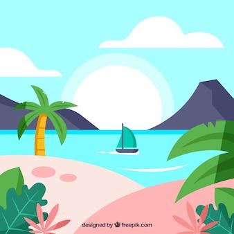 Belle plage tropicale avec un design plat