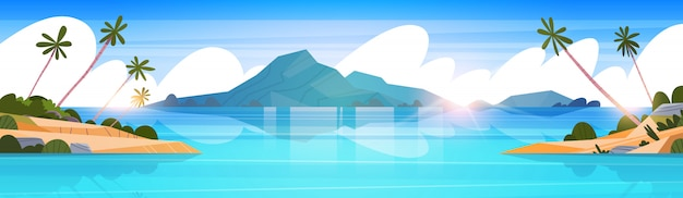 Belle plage tropicale paysage été bord de mer avec palmier et silhouette montagnes illustration horizontale