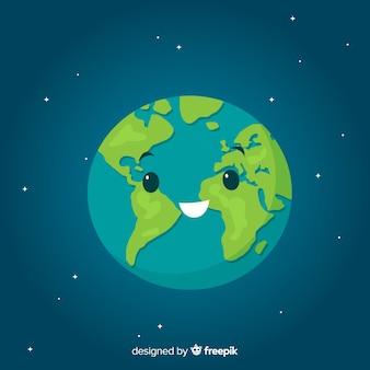 Belle planète terre avec style de bande dessinée