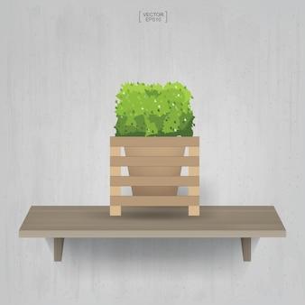 Belle plante de décoration en pot de fleur sur fond d'étagère en bois. idée pour l'aménagement intérieur et la décoration. illustration vectorielle.