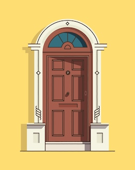 Belle porte d'entrée vintage rétro marron. extérieur de la maison. entrée de la maison. coloré.