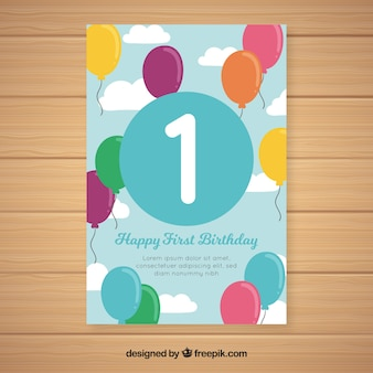 Belle première carte d'anniversaire