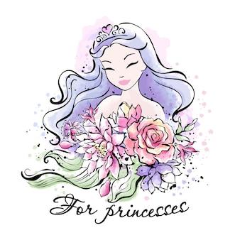 Belle princesse aux cheveux violets avec un bouquet de fleurs.