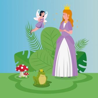 Belle princesse avec fée jeter dans la magie de la scène