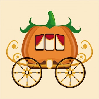 Belle roue de chariot de citrouille or