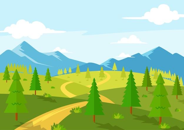 Belle route nature printemps saison paysage vue