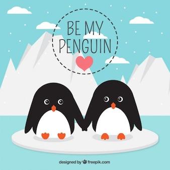 Belle scène d'amour avec des pingouins