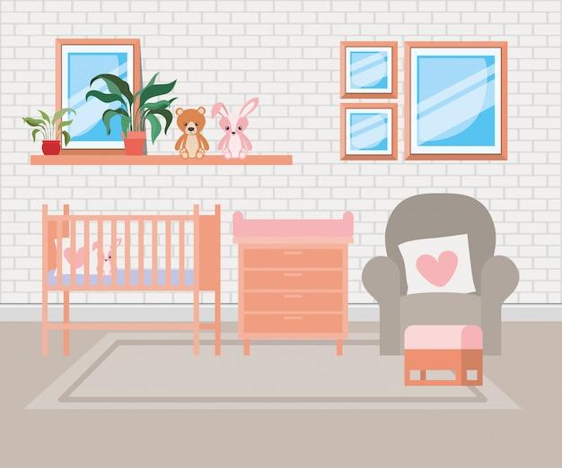 Belle scène de chambre de bébé