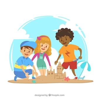 Belle scène des enfants jouant avec du sable