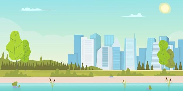 Belle scène de nature avec ville et colline