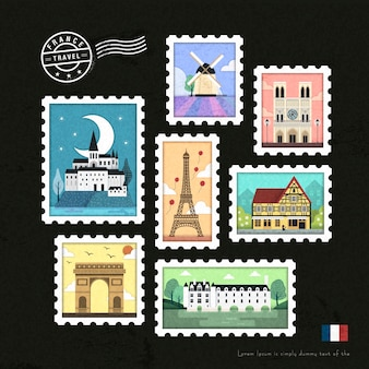 Belle scénographie de collection de timbres d'attraction française