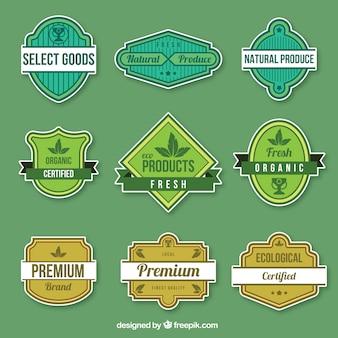 Belle série de badges de produits biologiques
